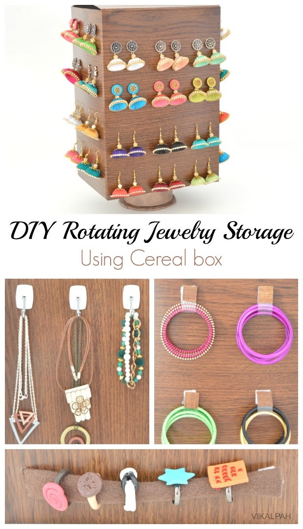DIY Rotating Jewelry Storage Using Cereal Box