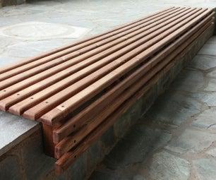 Outdoor Wooden Slat Bench Seat