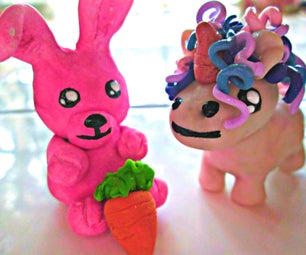 Cotton Candy Clay Bunny and Crazy Unicorn