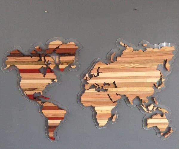 Wooden World Map Zebra