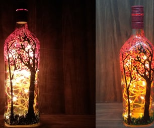 How to Make Blossoming Forest Magic Painting on Wine Bottle with Twinkle Lights |Easy Craft & Art Tutorial