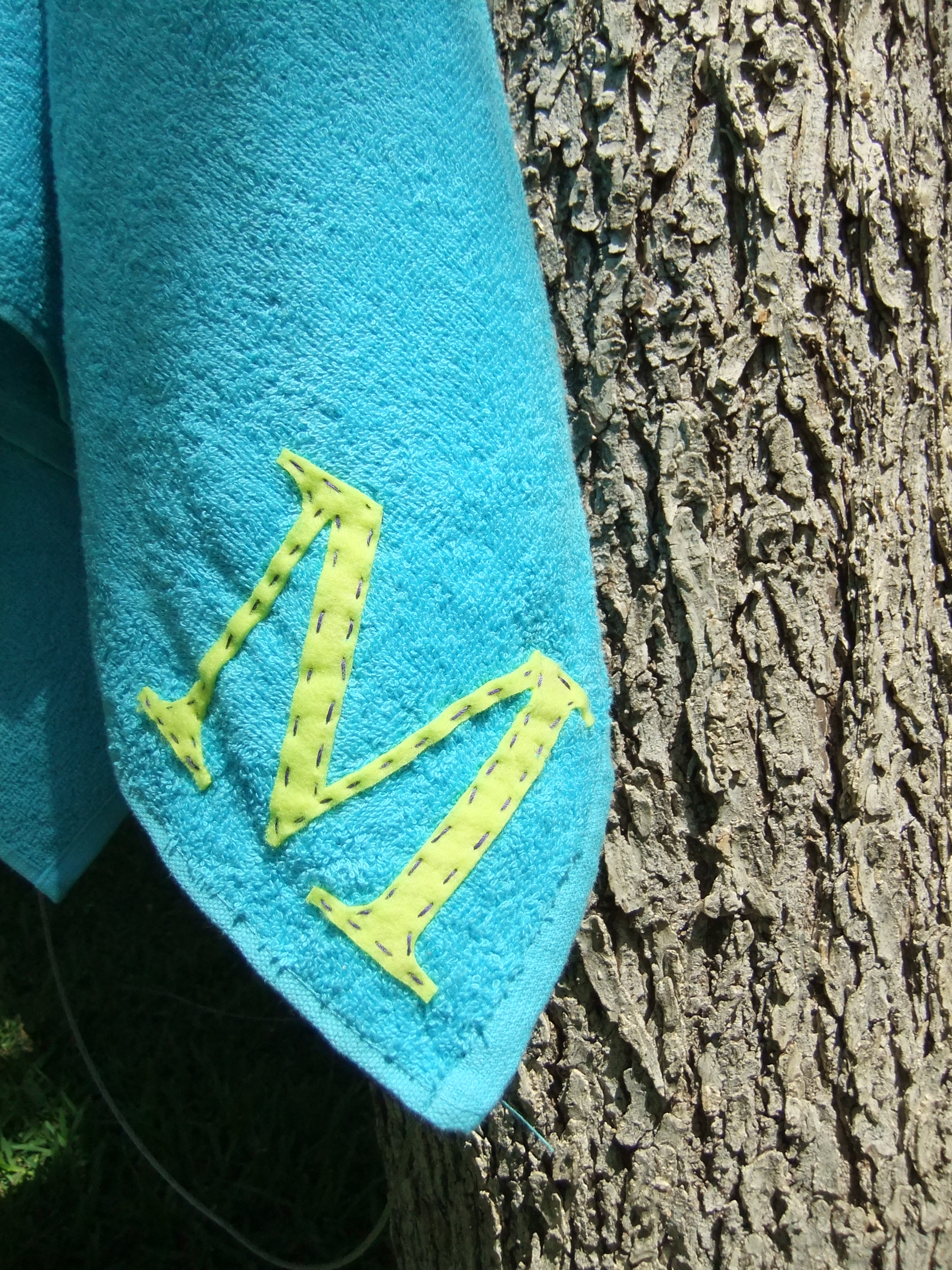 Laser Cut Felt Applique Monogramed Towel