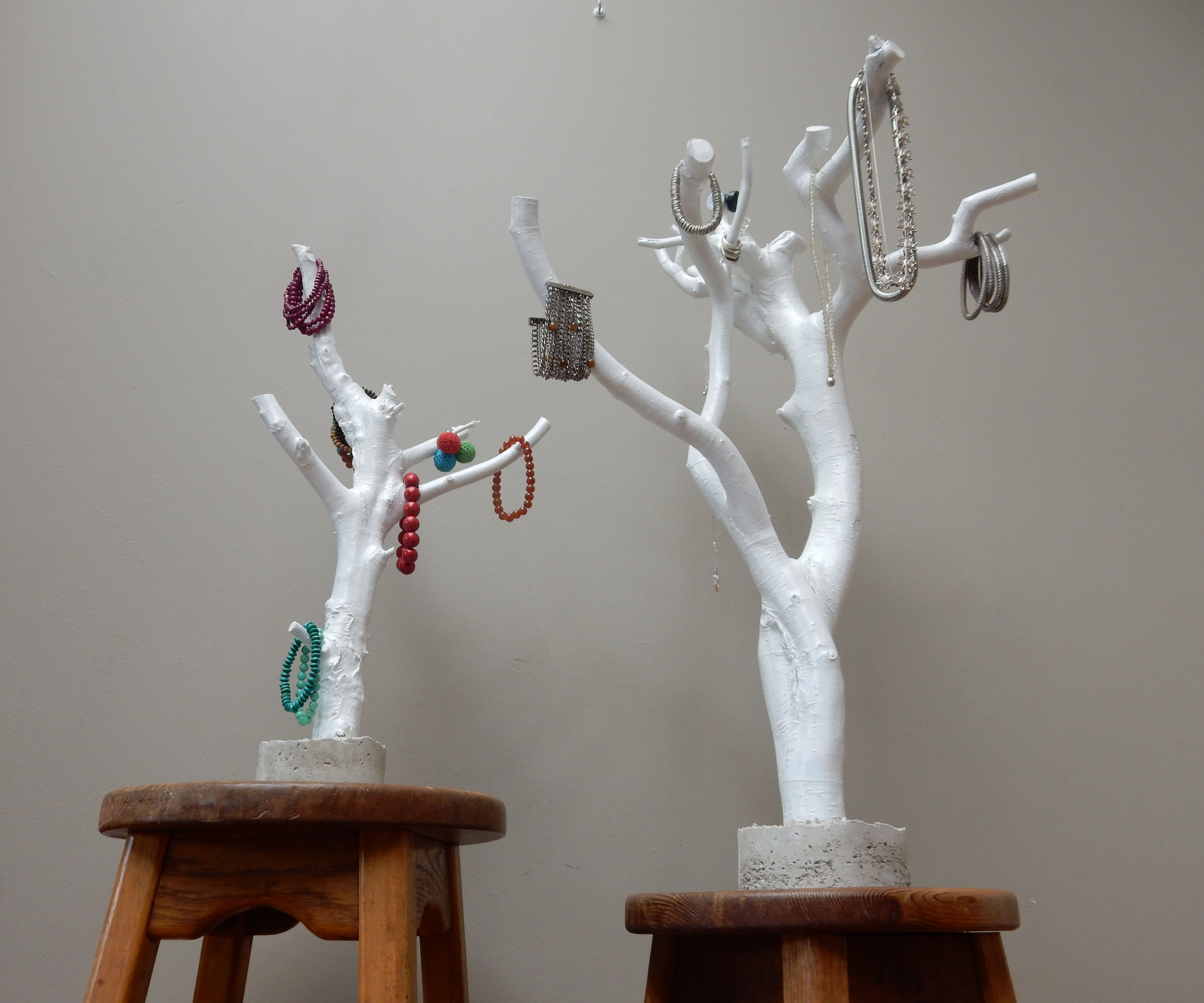 Jewellery stand from a branch