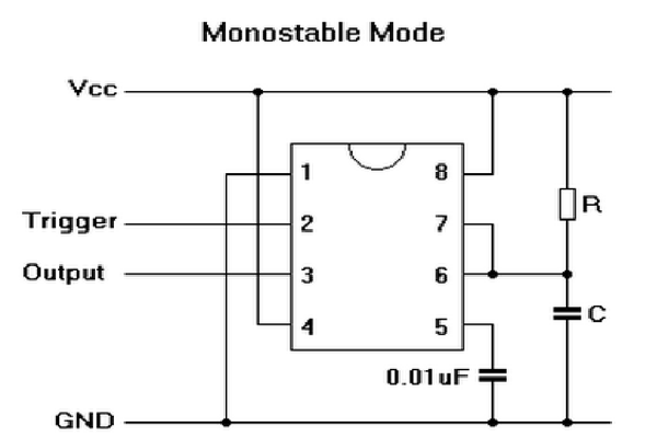 555 Timer in Monostable Mode - a Tutorial With Theory, Schematic, & Lab Sections