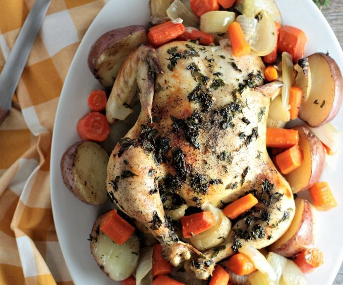 Roasted Chicken, Potatoes, & Carrots