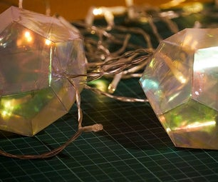 Dodecahedron Party Garland   Iridescent Film & Acetate Geometry