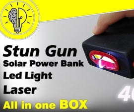 4 in 1 BOX (Solar Rechargeable Stun Gun, Power Bank, LED Light & Laser)