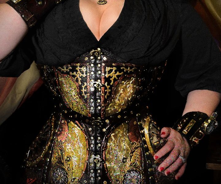 Handmade Steampunk Leather Corset with Brass Inlays and Custom Tooling
