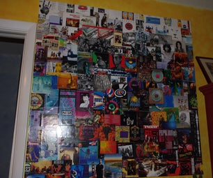 Repurpose CD Album Cover Art in Giant Wall Collage.