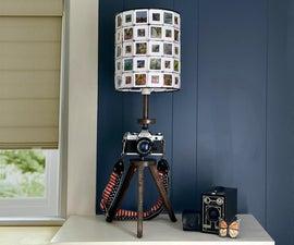 Vintage Camera Lamp With DIY 35mm Slide Shade
