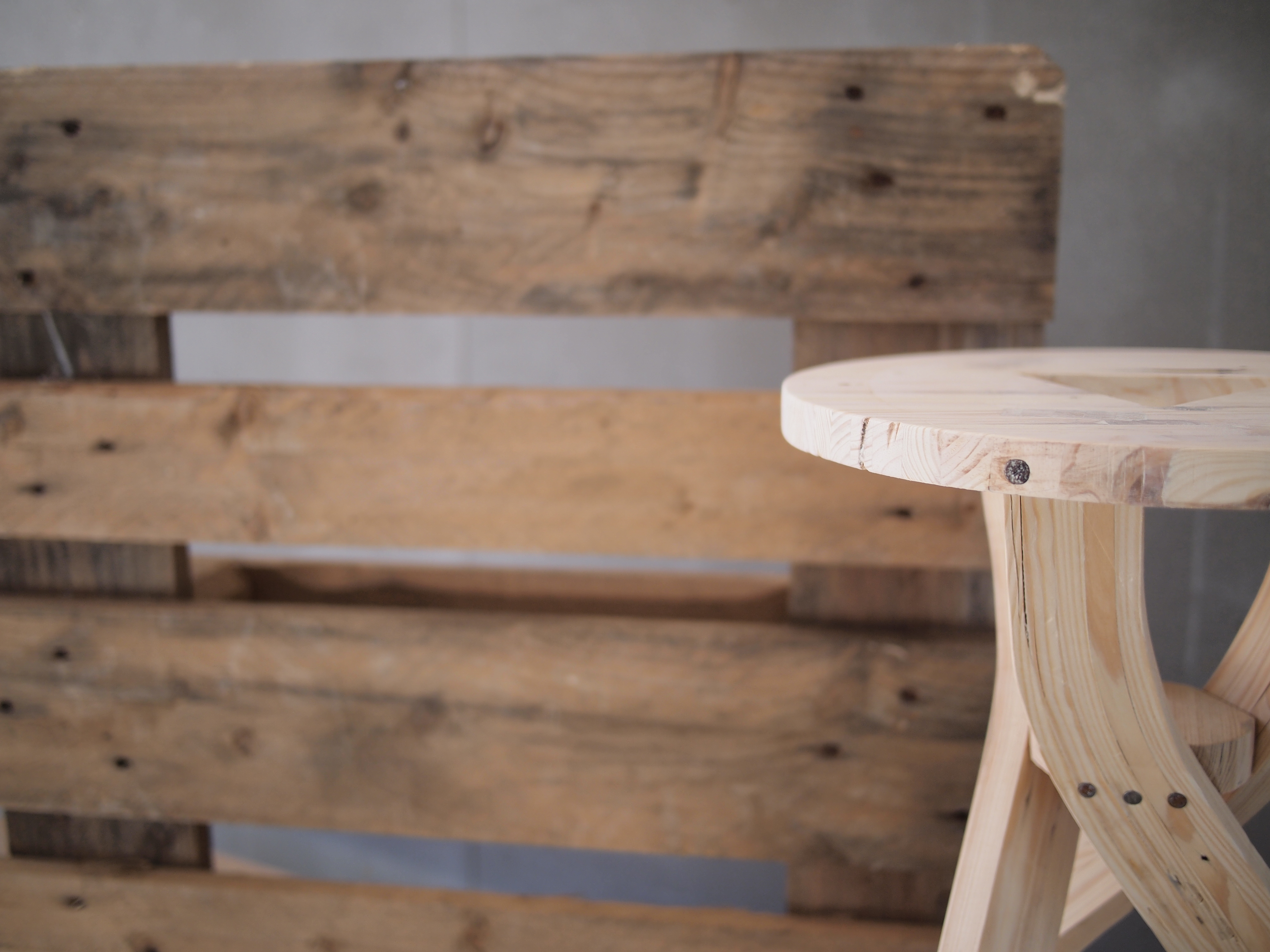 Shipping pallet stool