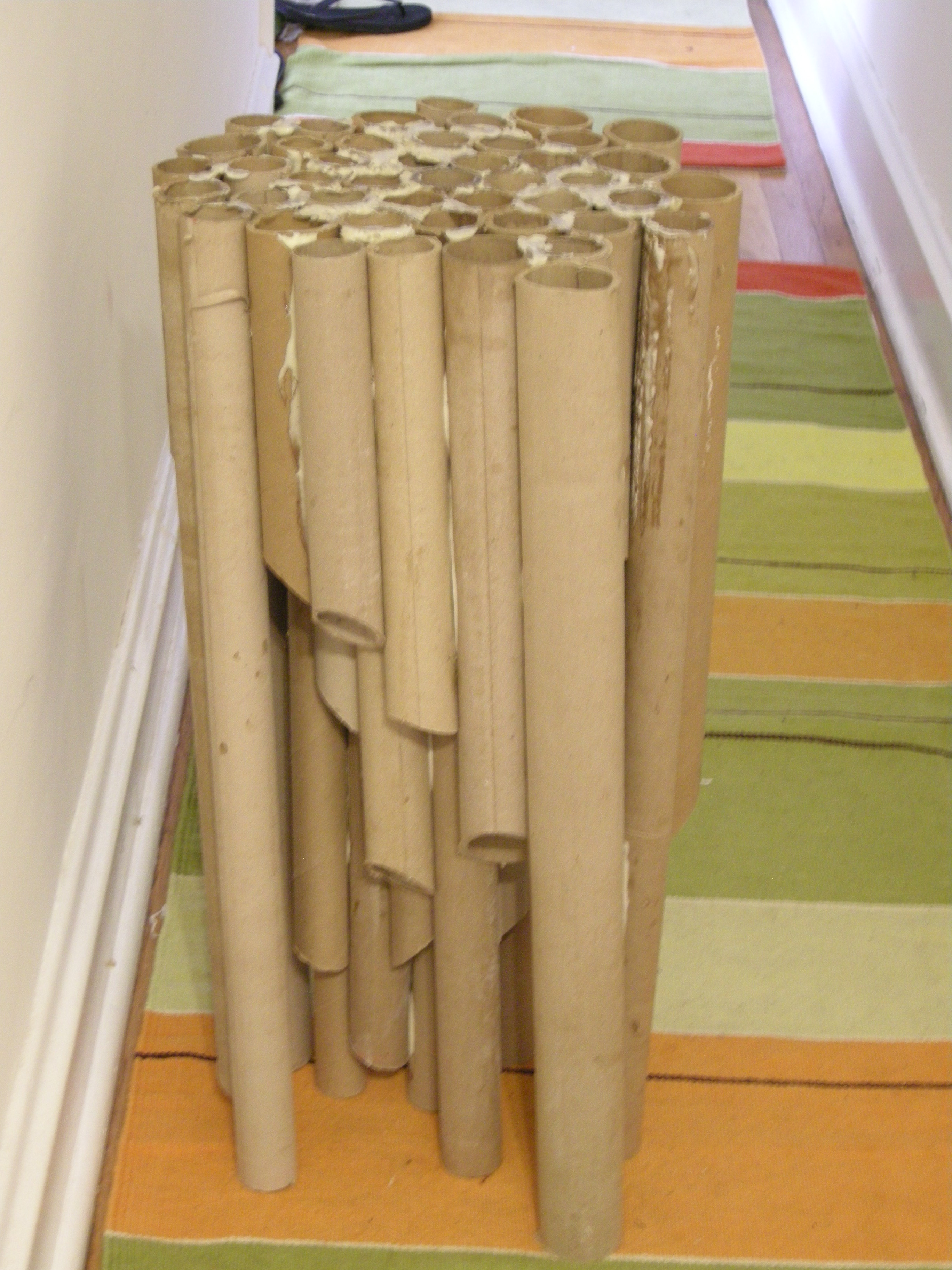 Pipe-organ-inspired cardboard tube table