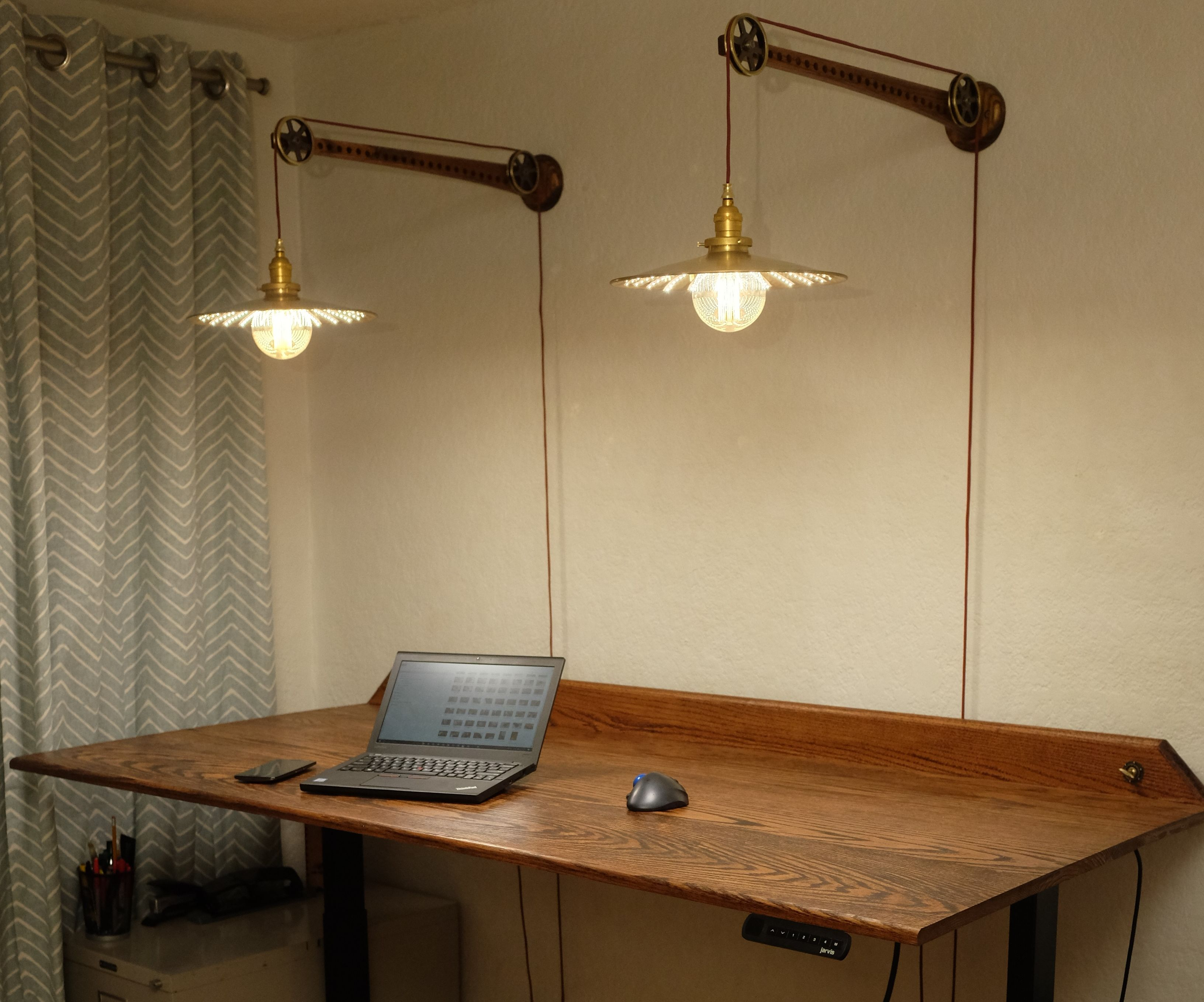 Standing Desk Pulley Lamps