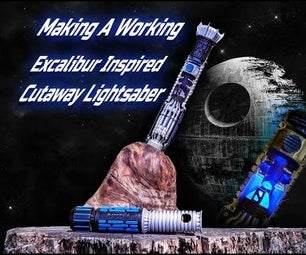 Excalibur Inspired Lightsaber in the Stone Cutaway
