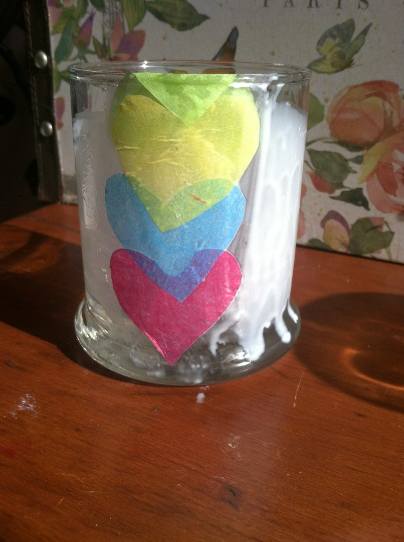 Apply Tissue Paper Hearts♥♥