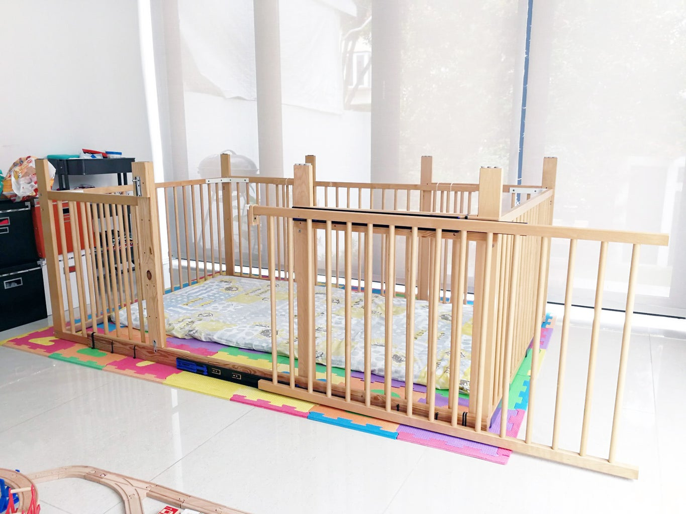 Supersized Toddler Playpen With Sliding Gate Out of Old IKEA Cots