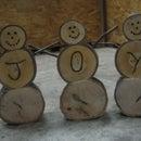 Homemade Wooden Log Snowmen