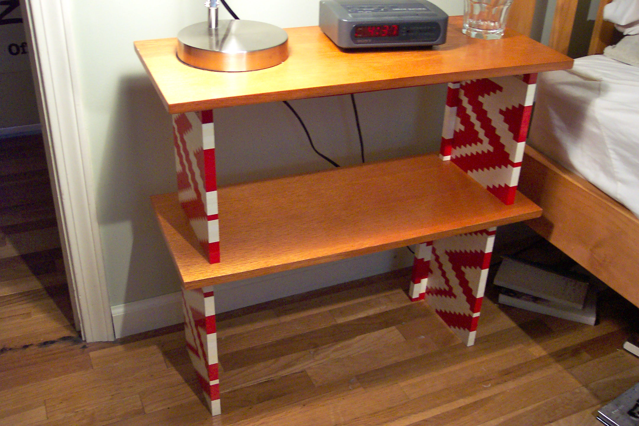 Lego & Wood Bedside Table