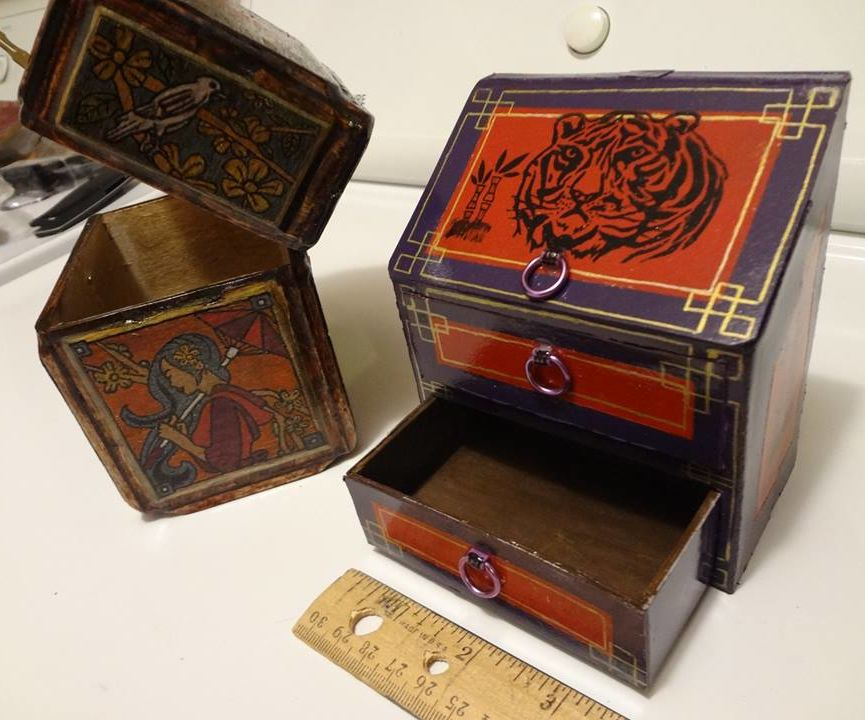 Oriental Jewelry Box Made Using Cardboard & Wood.