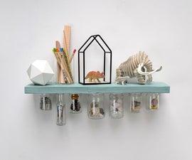 回收的漂浮架子与玻璃罐存储和超级食物油漆