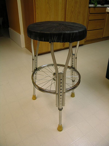 Stool made from bike parts and crutches