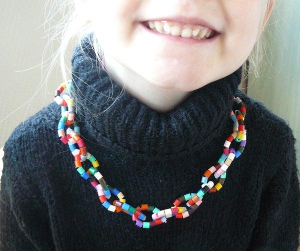 ZIp Ties and Perler Beads Necklace
