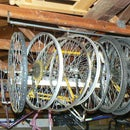 Quick and easy Rafter mounted bicycle wheel storage