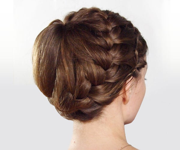 Double-Braided Updo Hairstyle