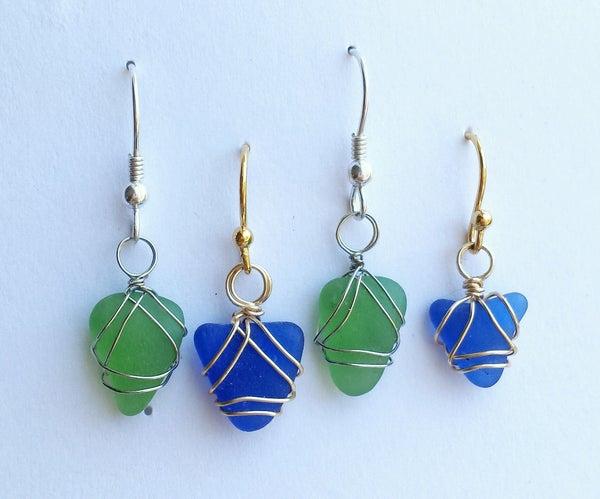 Woven Wire Sea Glass Earrings