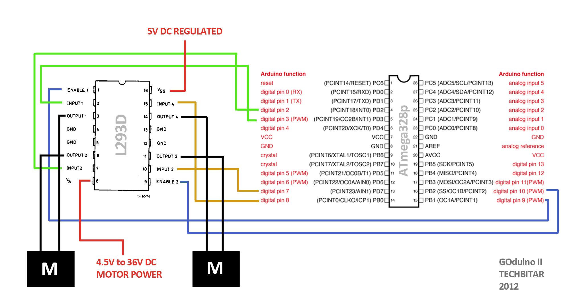 L293d Wiring Arduino Explained Diagrams Pin Diagram Pingservo Attach6 Causing Dc Motors Conected To L239d Not Spin Pinout
