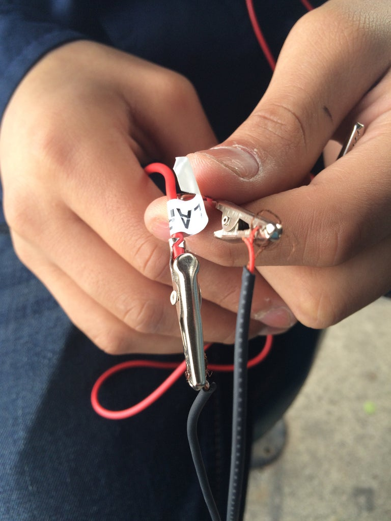 Connect the Different Alligator Clips to and Aux Cord.
