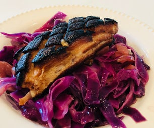 Slow Cooked Pork Belly With Braised Cabbage & Apples