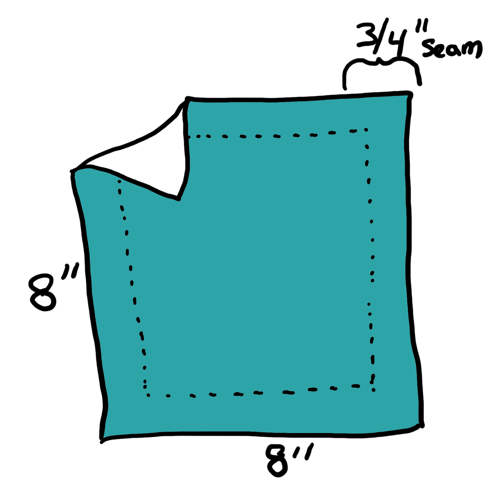 """Diagram: 8"""" Square With 3/4"""" Seam Allowance."""