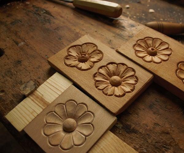 Simple Wood Carving - Flower (rosette)