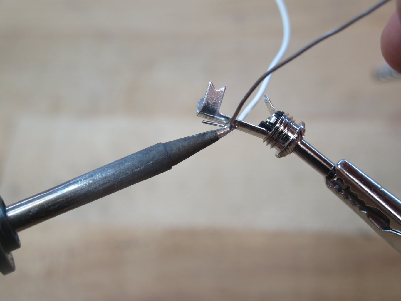 Solder the Other Two Ends to the Audio Jack