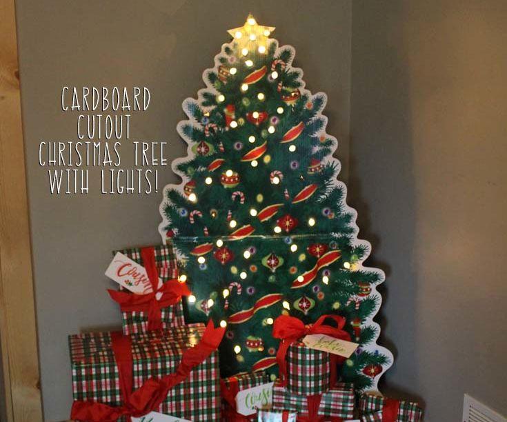 Cardboard Cutout Christmas Tree with Real Lights