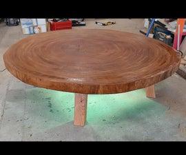 Tree Slab Lounge Table With Rgb Led Lights