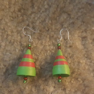 Paper Quilled Jhumka Earrings - Shades of Green