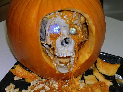 Insert the Skull and Dress It Up With Pumpkin Guts