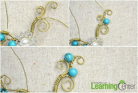 Wire Wrapping the Right Part of the Flower Ear Cuff