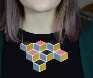 Plywood Cube Necklace