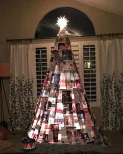 Recycled Magazine (Faux Stained Glass?) Christmas Tree 2016