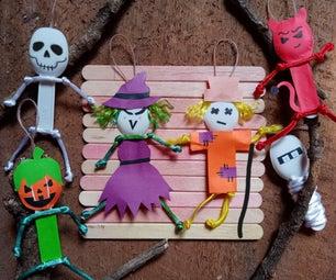 Halloween Monster Ornaments From Yogurt Spoons