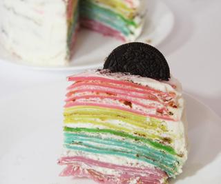 Eggless Rainbow Crêpe Cake