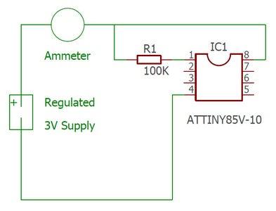 Determining Average Current Consumption of the AtTiny85V-10