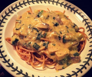 Vegan Alfredo Sauce With Delight Soy, Spinach, Mushrooms, and Squash