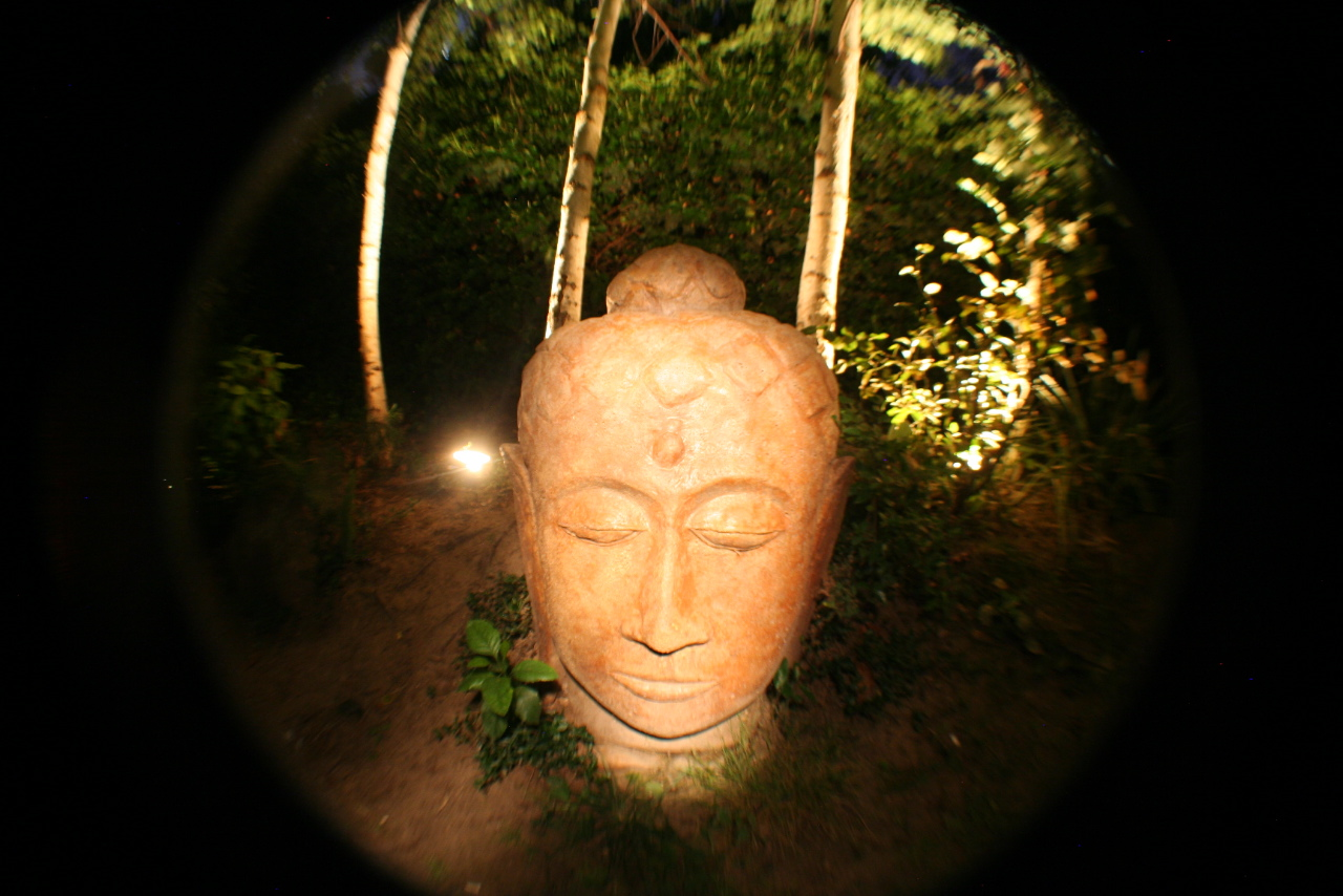 Giant Concrete Buddha Head Garden Sculpture