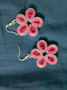 Quilled Floret and Ring Earring