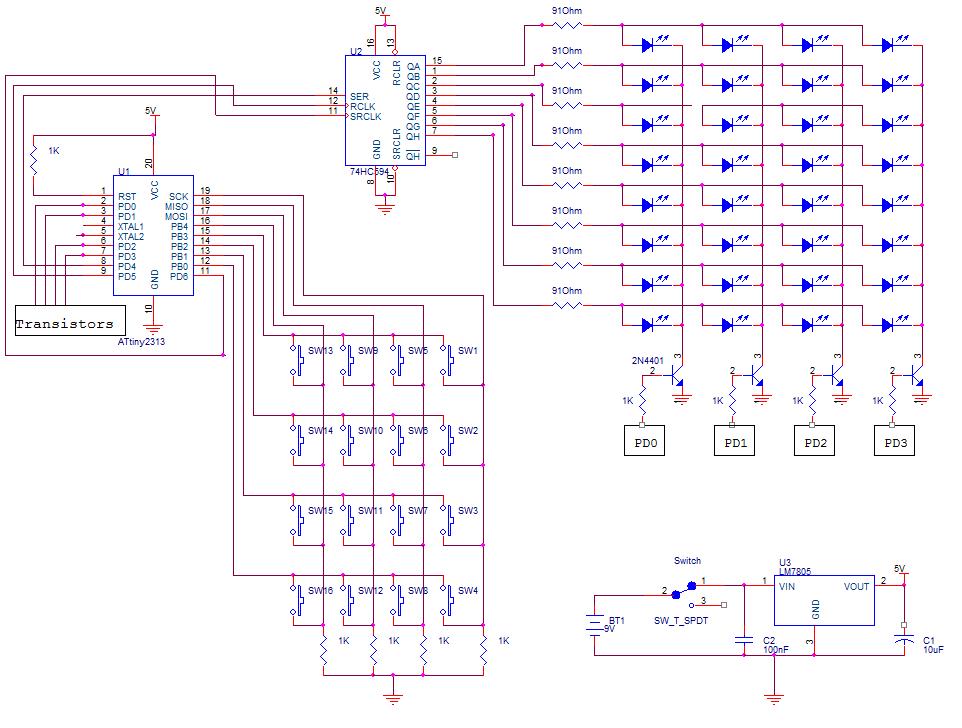 Микроконтроллер ATtiny2313.  Регулятор напряжения.  Обозначение в схеме.  Наименованиe, номинал.  91Ohm.