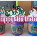 DIY Birthday Starbucks Party Favor Cake Topper Decoration